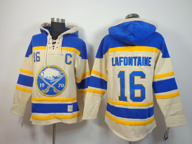 NHL Buffalo Sabres 16 Pat LaFontaine cream blue Pullover Hooded Sweatshirt