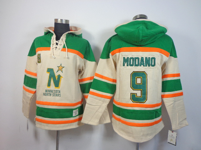NHL Dallas Stars 9 Mike Modano cream Pullover Hooded Sweatshirt