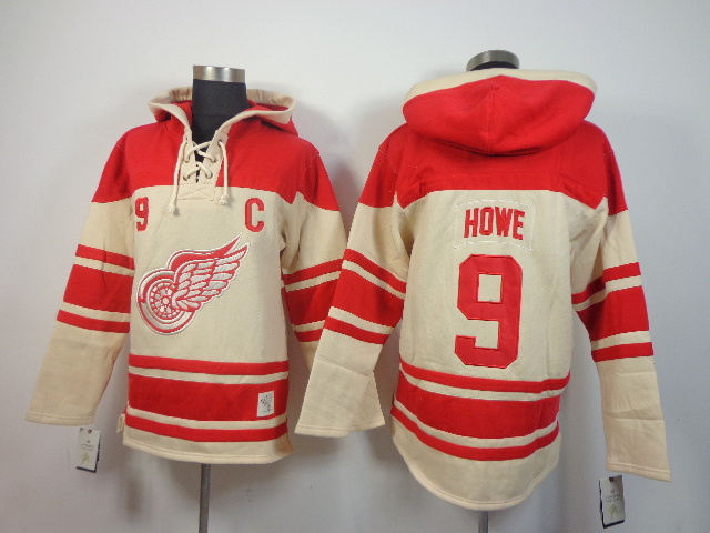 NHL Detroit Red Wings 9 Gordie Howe cream Pullover Hooded Sweatshirt