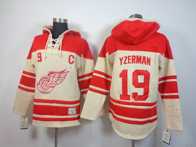 NHL Detroit Red Wings 19 Steve Yzerman cream Pullover Hooded Sweatshirt
