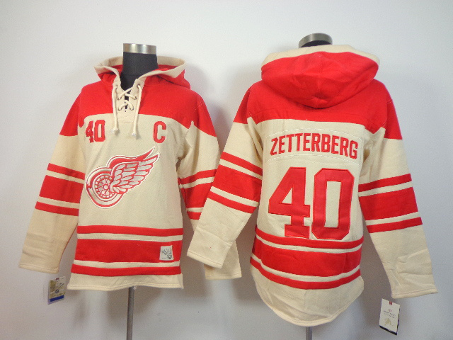 NHL Detroit Red Wings 40 Henrik Zetterberg cream Pullover Hooded Sweatshirt