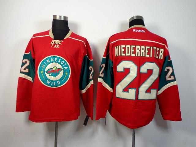 NHL Minnesota Wild 22 Nino Niederreiter Red 2014 Jersey