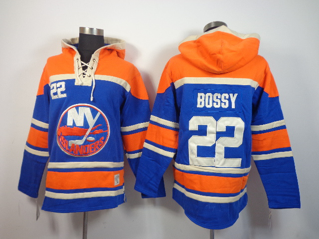 NHL New York Islanders 22 Mike Bossy blue Pullover Hooded Sweatshirt