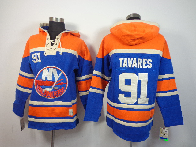 NHL New York Islanders 91 John Tavares blue Pullover Hooded Sweatshirt