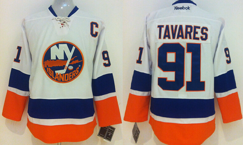 NHL New York Islanders 91 John Tavares Royal white 2014 Jersey