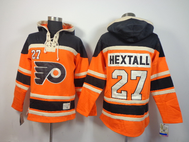 NHL Philadelphia Flyers 27 Ron Hextall orange Pullover Hooded Sweatshirt