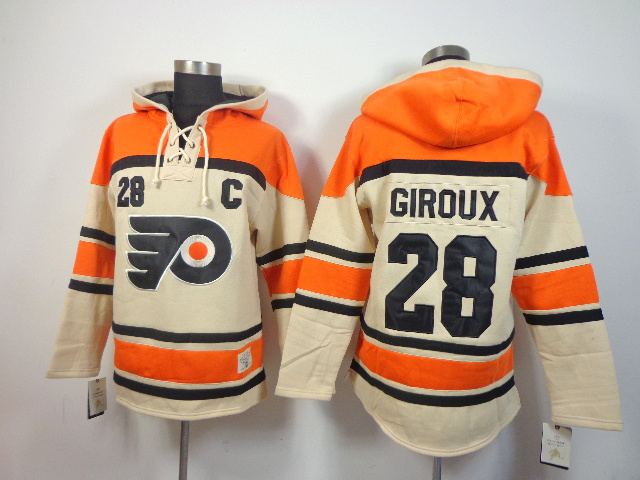 NHL Philadelphia Flyers 28 Claude Giroux cream Pullover Hooded Sweatshirt