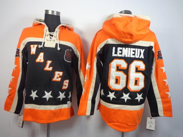 NHL Pittsburgh Penguins 66 Mario Lemieux all star orange Pullover Hooded Sweatshirt