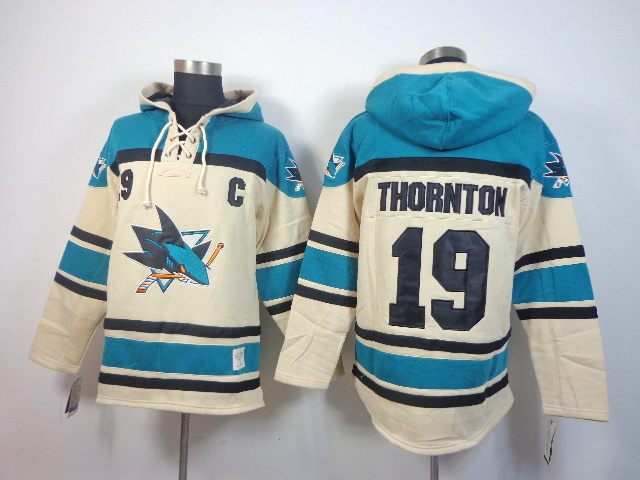NHL San Jose Sharks 19 Joe Thornton cream Pullover Hooded Sweatshirt