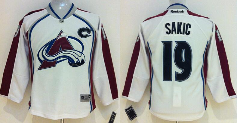 Youth NHL Colorado Avalanche 19 Joe Sakic White 2014 Jersey