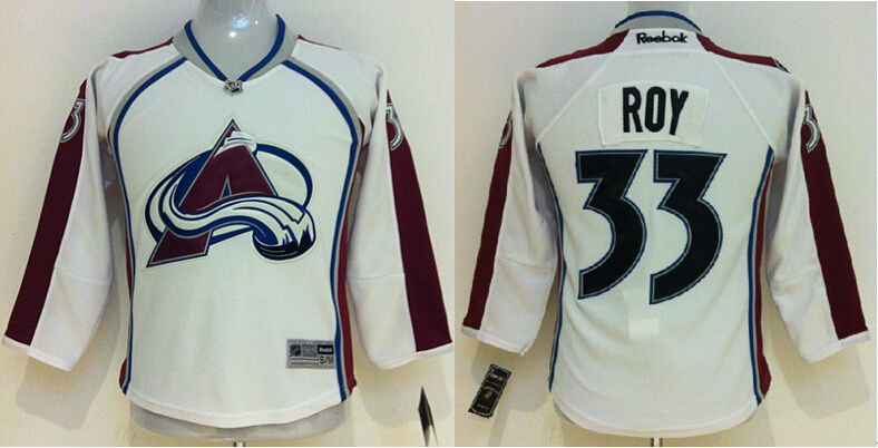 Youth NHL Colorado Avalanche 33 Patrick Roy White 2014 Jersey