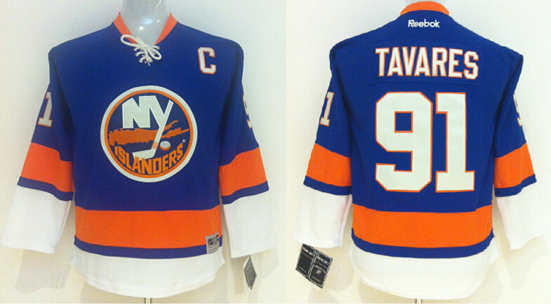 Youth NHL New York Islanders 91 John Tavares Blue 2014 Jersey
