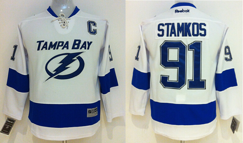 Youth NHL Tampa Bay Lightning 91 Steven Stamkos White 2014 Jersey