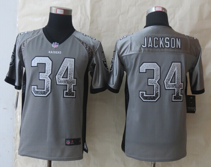 Youth Okaland Raiders 34 Jackson Drift Fashion Grey 2014 New Nike Elite Jerseys
