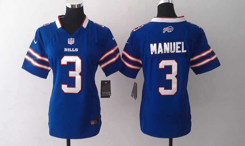 Womens Buffalo Bills 3 E. J. Manuel Blue 2014 Nike Jersey