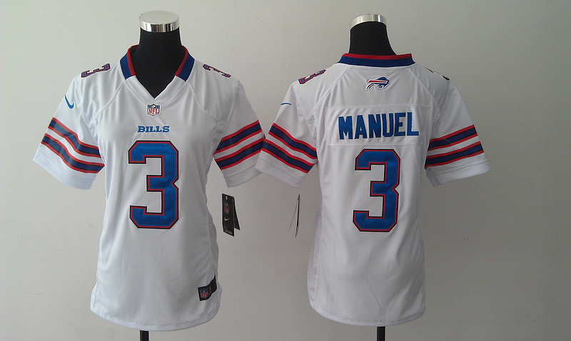 Womens Buffalo Bills 3 E. J. Manuel White 2014 Nike Jersey