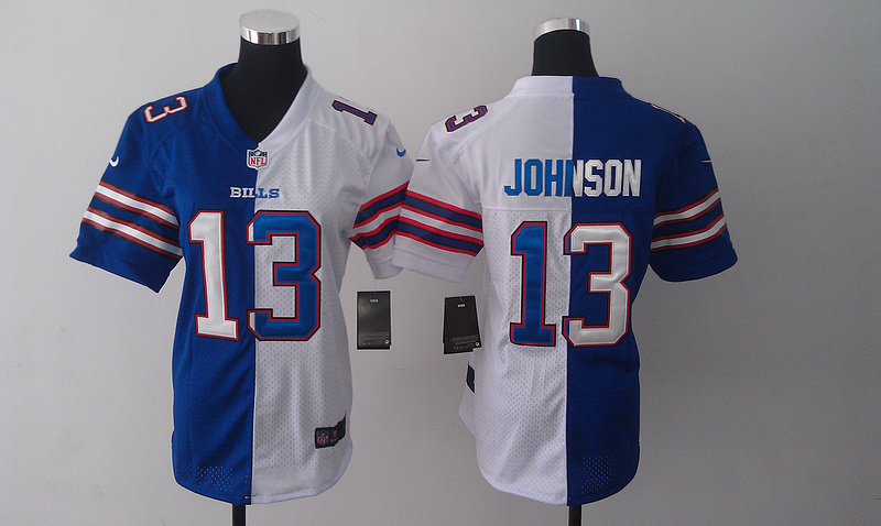 Womens Buffalo Bills 13 Steve Johnson Blue And White Nike Elite Split 2014 Jersey