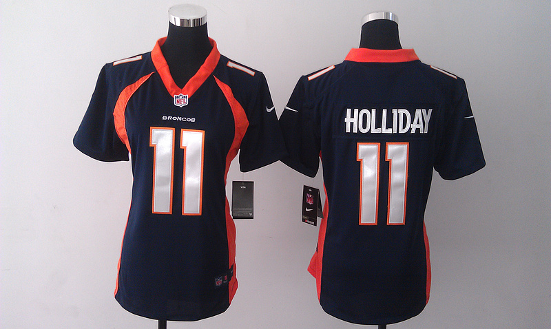 Womens Denver Broncos 11 Trindon Holliday Dark Blue 2014 Nike Jersey