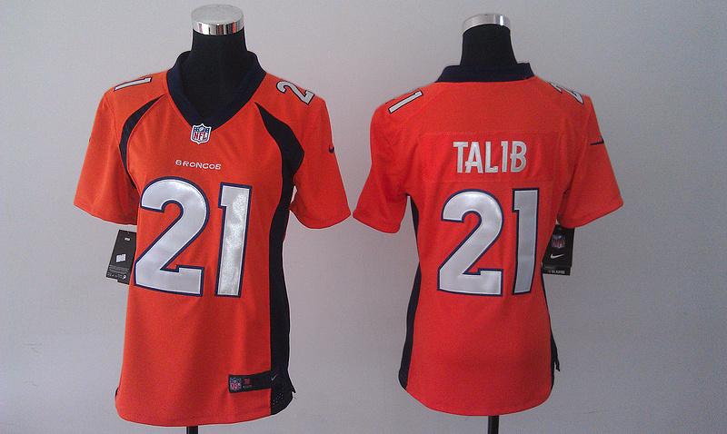 Womens Denver Broncos 21 Aqib Talib Orange 2014 Nike Jersey