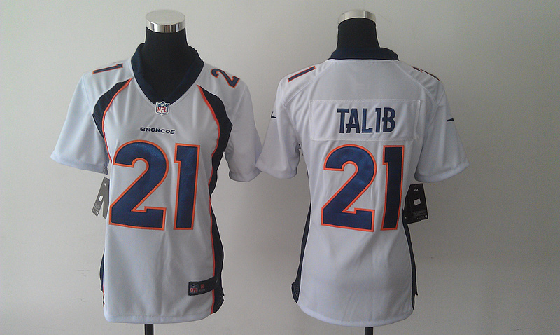 Womens Denver Broncos 21 Aqib Talib White 2014 Nike Jersey