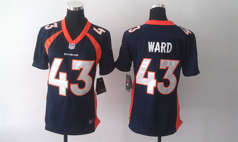 Womens Denver Broncos 43 T.J. Ward Blue 2014 Nike Jersey