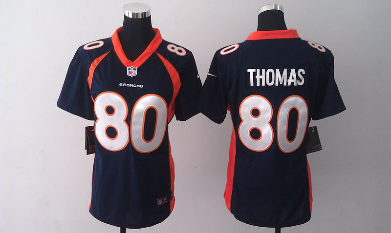 Womens Denver Broncos 80 Thomas Dark Blue 2014 Nike Jersey