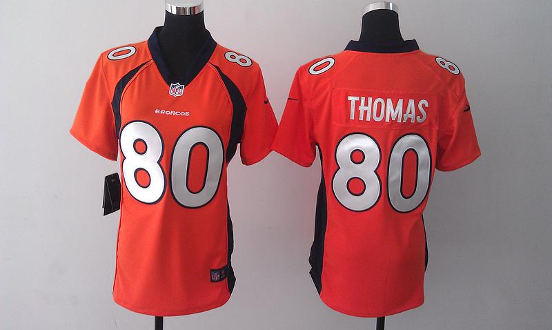 Womens Denver Broncos 80 Thomas Orange 2014 Nike Jersey