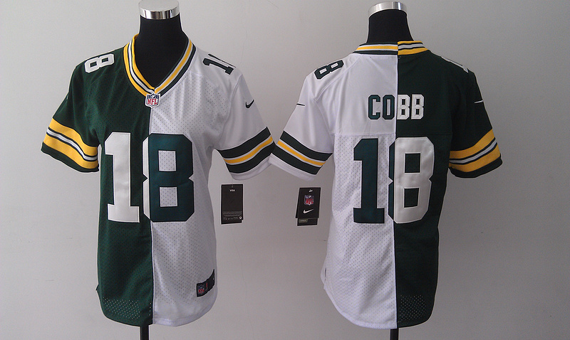 Womens Green Bay Packers 18 Randall Cobb Green And White Nike Elite Split 2014 Jersey