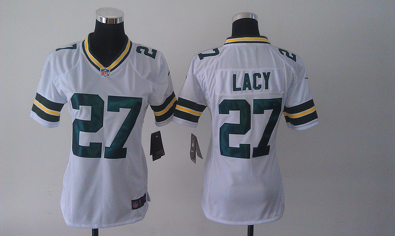 Womens Green Bay Packers 27 Eddie Lacy White 2014 Nike Jersey