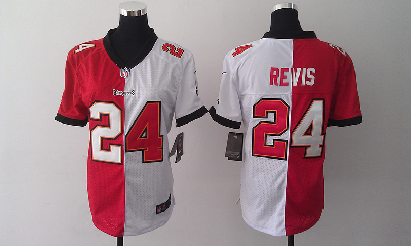 Womens Tampa Bay Buccaneers 24 Darrelle Revis Red And White Nike Elite Split 2014 Jersey
