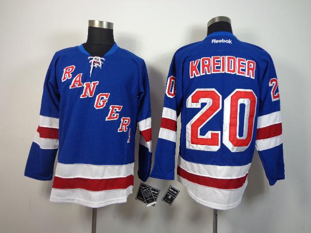 NHL New York Rangers 20 Chris Kreider Blue 2014 Jerseys