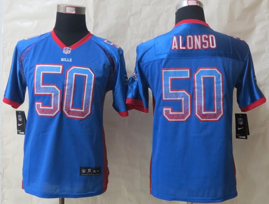 Youth Buffalo Bills 50 Alonso Drift Fashion Blue 2014 New Nike Elite Jerseys