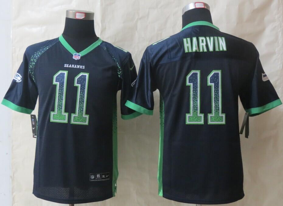 Youth Seattle Seahawks 11 Harvin Drift Fashion Blue 2014 New Nike Elite Jerseys