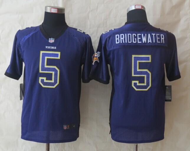 Youth Minnesota Vikings 5 Bridgewater Drift Fashion Purple 2014 New Nike Elite Jerseys