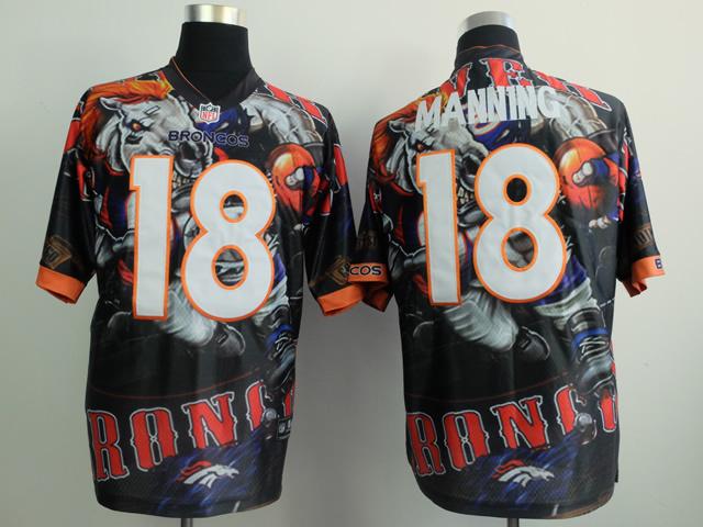 Denver Broncos 18 manning black NFL Nike fanatical version Jersey