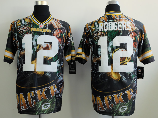 Green Bay Packers 12 Rodgers black NFL Nike fanatical version Jersey