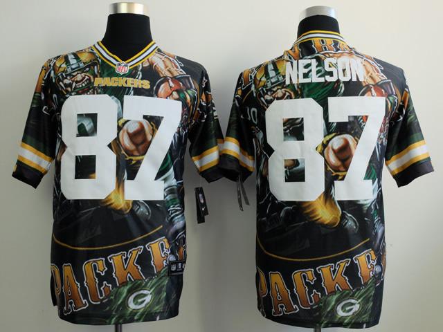 Green Bay Packers 87 Nelson black NFL Nike fanatical version Jersey
