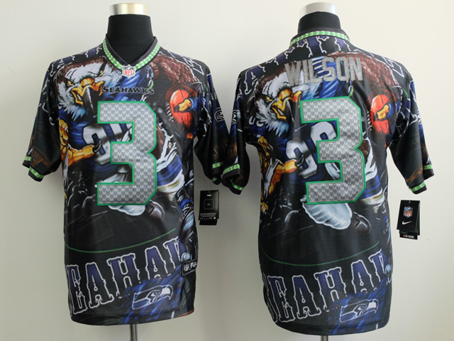 Seattle Seahawks 3 Wilson black NFL Nike fanatical version Jersey