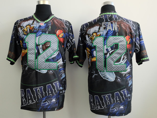Seattle Seahawks 12 fan black NFL Nike fanatical version Jersey