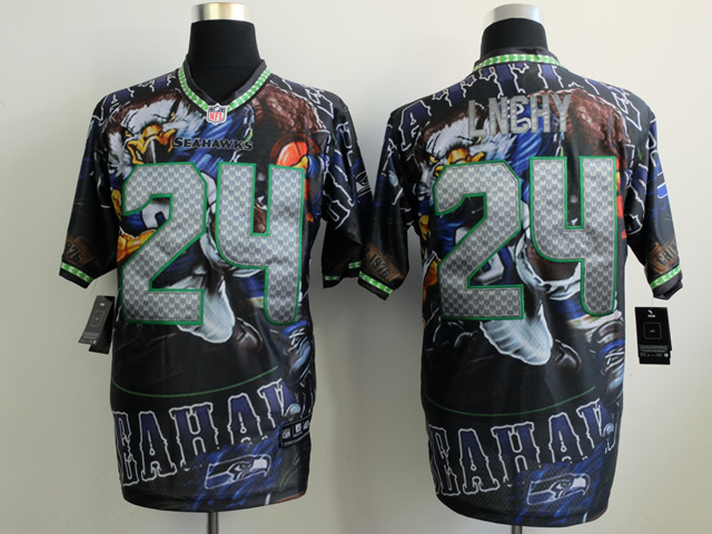 Seattle Seahawks 24 lnchy black NFL Nike fanatical version Jersey