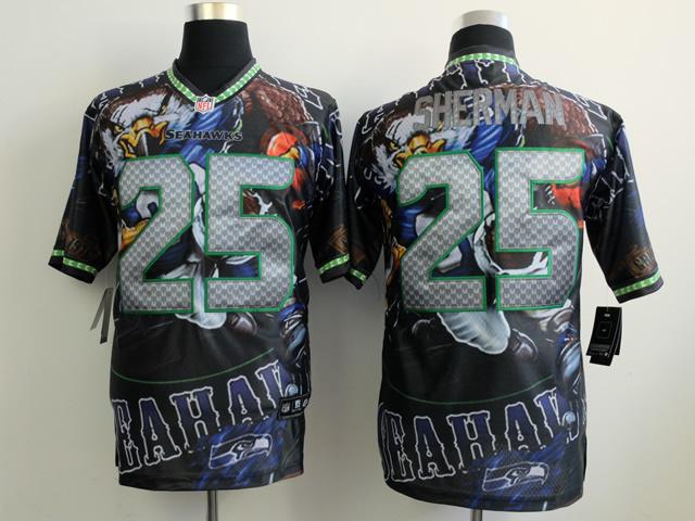 Seattle Seahawks 25 Sherman black NFL Nike fanatical version Jersey