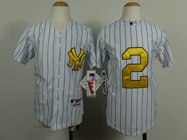 Youth MLB New York Yankees 2 Derek Jeter Gold Pinstripe 2014 Jerseys