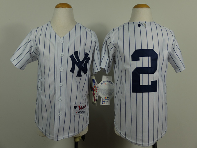Youth MLB New York Yankees 2 Derek Jeter White Pinstripe 2014 Jerseys