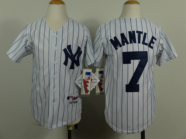 Youth MLB New York Yankees 7 Mickey Mantle White Pinstripe 2014 Jerseys