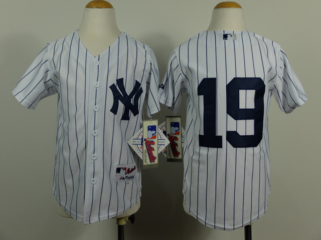 Youth MLB New York Yankees 19 Masahiro Tanaka White Pinstripe 2014 Jerseys