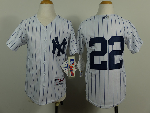 Youth MLB New York Yankees 22 Jacoby Ellsbury White Pinstripe 2014 Jerseys
