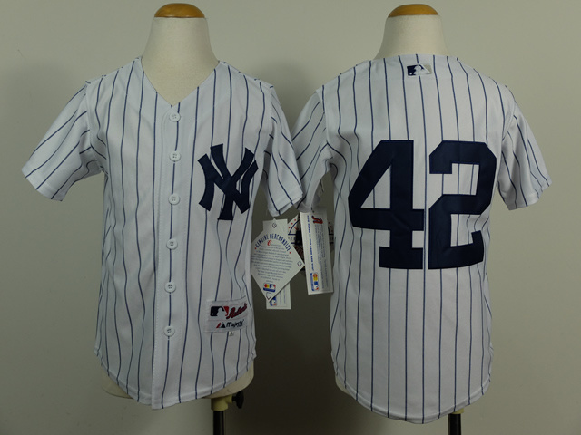 Youth MLB New York Yankees 42 Mariano Rivera White Pinstripe 2014 Jerseys
