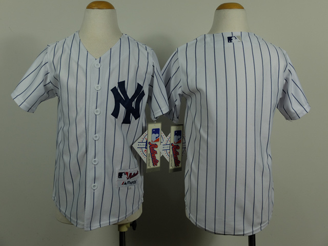 Youth MLB New York Yankees Blank White Pinstripe 2014 Jerseys