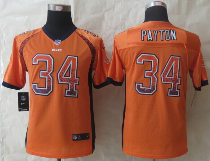Youth Chicago Bears 34 Payton Drift Fashion Orange 2014 New Nike Elite Jerseys