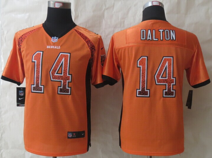 Youth Cincinnati Bengals 14 Dalton Drift Fashion Orange 2014 New Nike Elite Jerseys